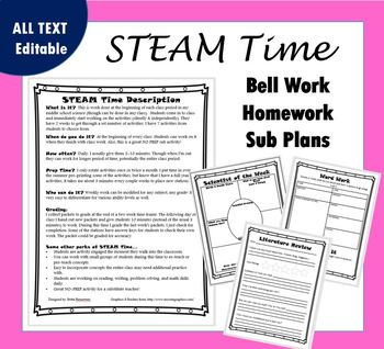 STEAM Time-Low Prep (Bell work, sub plans, station work)
