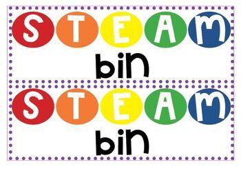 STEAM bin large labels