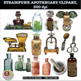 STEAMPUNK APOTHECARY CLIPART, CLASS DECOR, BULLETIN BOARDS