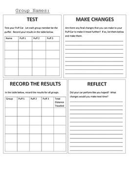 STEAM/STEM- Puff Car Student Recording Sheet