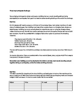 STEM 3 day Earthquake challenge