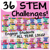 36 STEM Challenges BUNDLE (for the busy teacher) by Science and Math Doodles