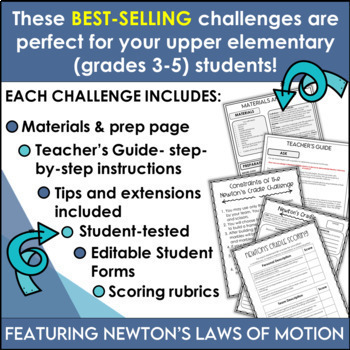 STEM Challenges 6 Pack Bundle featuring Newton's Laws of Motion