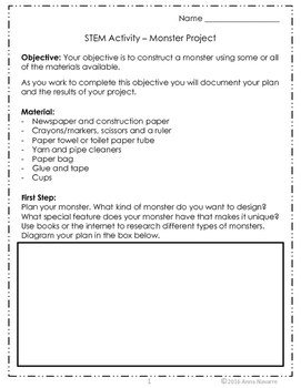 STEM Activity - Build a Monster