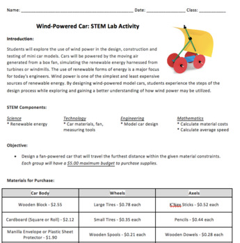 STEM Activity - Building Wind Powered Cars