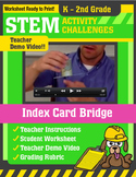 STEM Activity Challenge - Index Card Bridge K-2nd Grade
