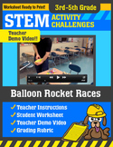 STEM Activity Challenge Balloon Rocket Races 3rd-5th grade