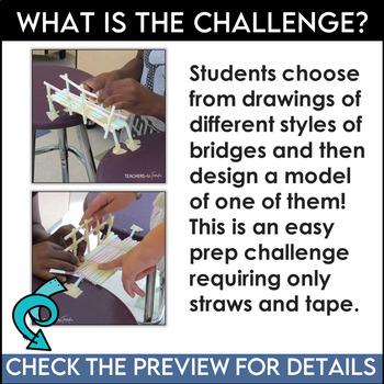 STEM Challenge Easy Bridges with Straws