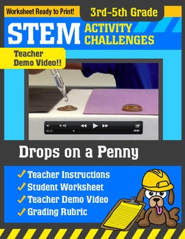 STEM Activity Challenge Drops on a Penny 3rd - 5th grade