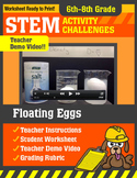 STEM Activity Challenge Floating Eggs 6th - 8th grade