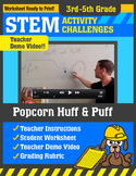 STEM Activity Challenge Popcorn Huff and Puff 3rd-5th grade