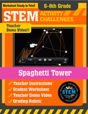 STEM Activity Challenge Spaghetti Tower 6th - 8th grade
