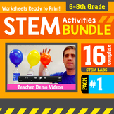 STEM Activity Challenges 16 Pack 6th - 8th Grade (PDF version)