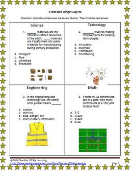 STEM Bell Ringers/ Warm Ups Power Pack #4