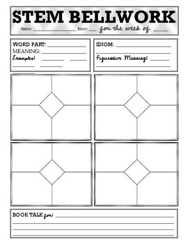 STEM Bellwork for the ELA Classroom - Student Recording Sheet