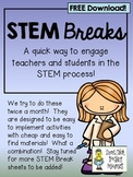 STEM Break Sheets ~ A Great Way to Engage Teachers in STEM!