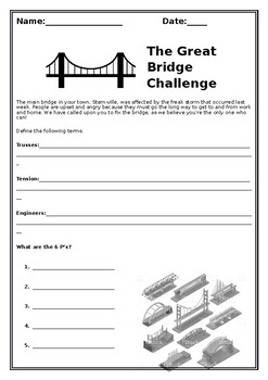 STEM Bridge Building Activity Worksheet by Learning With ...