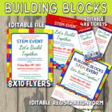STEM Building Blocks Event Flyer & Tickets - Editable PTA,