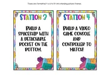 STEM Building Bricks LEGO Challenge Stations (Editable Version Included!)