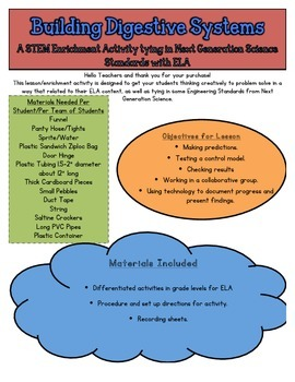 STEM: Building Digestive Systems CCSS/NGSS