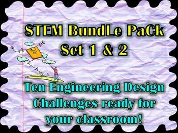 STEM Bundle 10 Engineering Design Challenges Sets 1 & 2