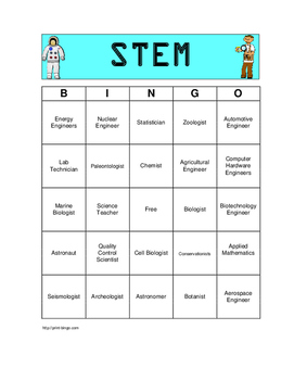 STEM Career Bingo Game