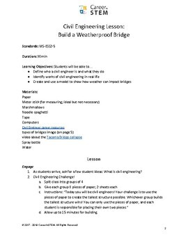 Civil Engineer Lesson Plan: build a weatherproof bridge!