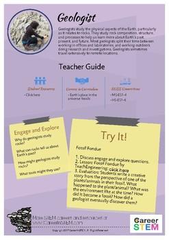 STEM Career Exploration: Geologist (Teacher Sheet)