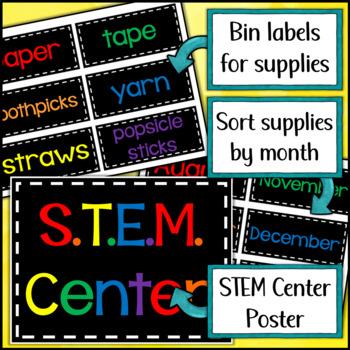 STEM Center Poster & Bin Labels