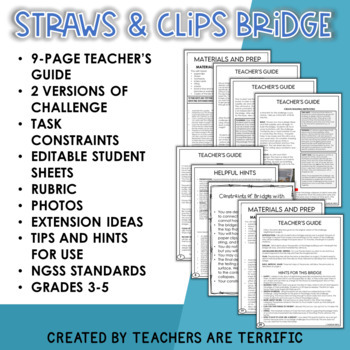 STEM Challenge Bridges with Straws and Paperclips