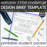 STEM Challenge Design Brief Template and Student Pages, editable