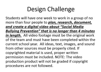 "STEM Challenge:  Digital Video Production - ""Just Say No To Cyberbullying"""
