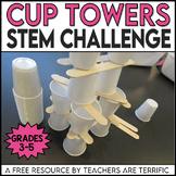 STEM Challenge Sticks and Cups Tower FREEBIE