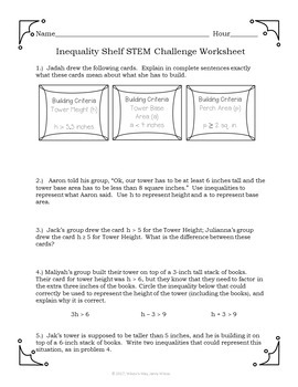 STEM Challenge Math Activity: Inequalities, Expressions and Area