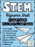 STEM Challenge Reference Sheet - Paper Airplanes - Use with ANY STEM Challenge!