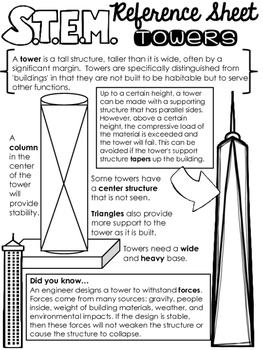 STEM Challenge Reference Sheet - Towers - Use with ANY STEM Challenge!