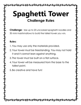 STEM Challenge:  Spaghetti and Marshmallow Tower