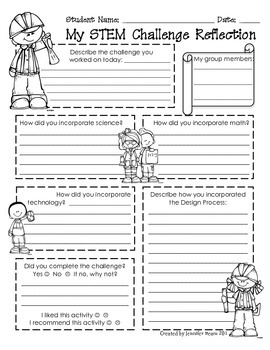 stem challenge student reflection worksheet - Reflection Worksheet