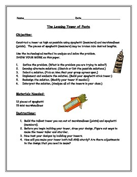 STEM Challenge: The Leaning Tower of Pasta (Two Versions)