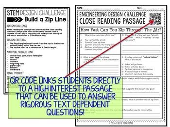Zip Line Design STEM Challenge Activity Print AND Digital