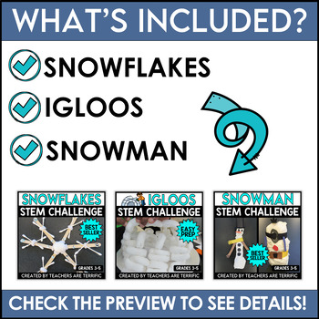 STEM Activities Challenge Bundle Snow Series Snowflakes, Snowmen, and Igloos