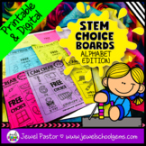 STEM Choice Boards Pre-K, Kindergarten, 1st Grade, and SPED (ALPHABET EDITION)