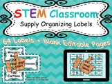 STEM Classroom Storage Organizing Labels ~ EDITABLE