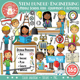 STEM Clip Art Bundle: Middle School / Teen Kids & Engineering