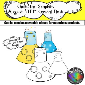 STEM Conical Flasks Clip Art- Chalkstar Graphics by Michelle