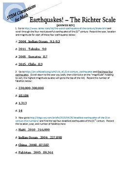 STEM Connections for Math: Earthquakes! - The Richter Scale