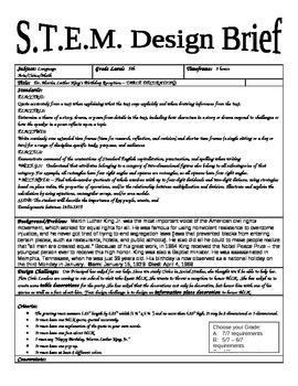 STEM Design Brief  - Martin Luther King - Table Decoration