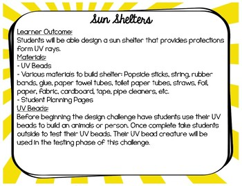 STEM Design Challenge: Sun Safety Shelter