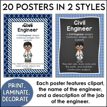 Kinds of Engineers Posters in Primary Colors