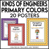 STEM Kinds of Engineers Posters in Primary Colors